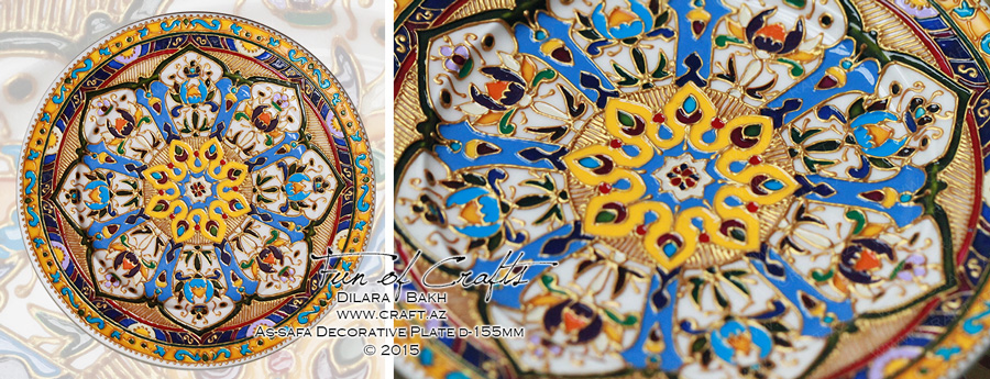 Ceramic handpainted plate as-safa souvenir from Azerbaijan