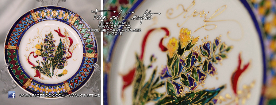 Ceramic handpainted plate APRIL souvenir from Azerbaijan