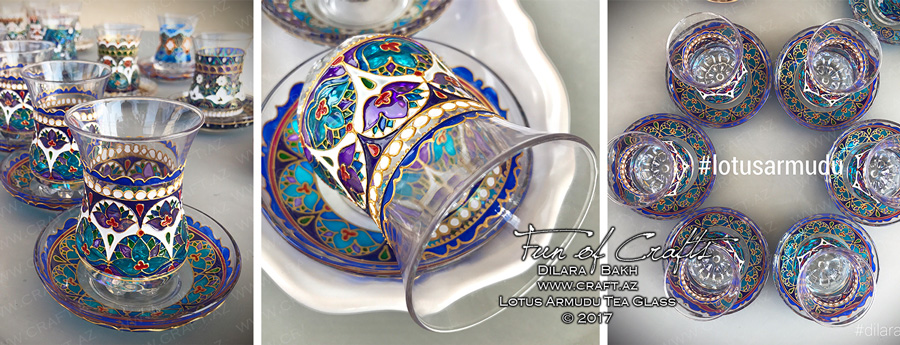 Lotus handpainted glass BAku Azerbaijan