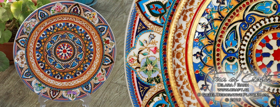 Ceramic handpainted plate eight beauties souvenir from Azerbaijan